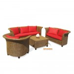 KT 15 – Saweda Sofa 3 Set with Red Cushion