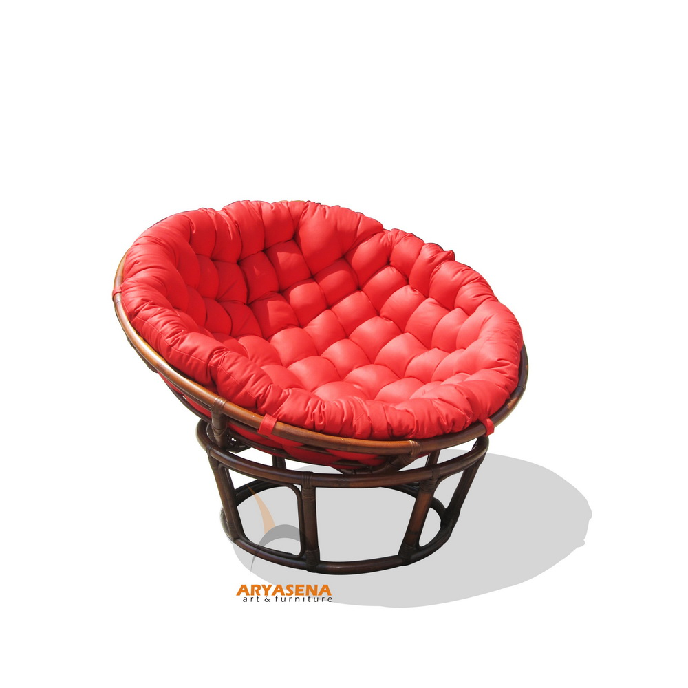 Papasan Chair with red cushion – wicker furniture