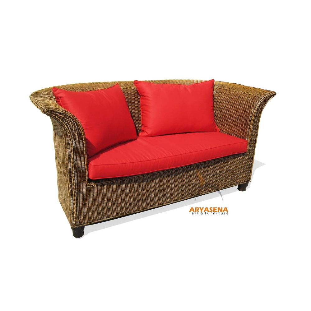Sofa 2 Seater with Red Cushion - Nature Rattan Furniture