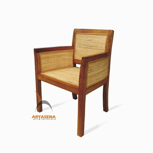 Rattan chair with teak wood frame