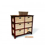 RU 07 - Rattan Unit 6 Drawers High